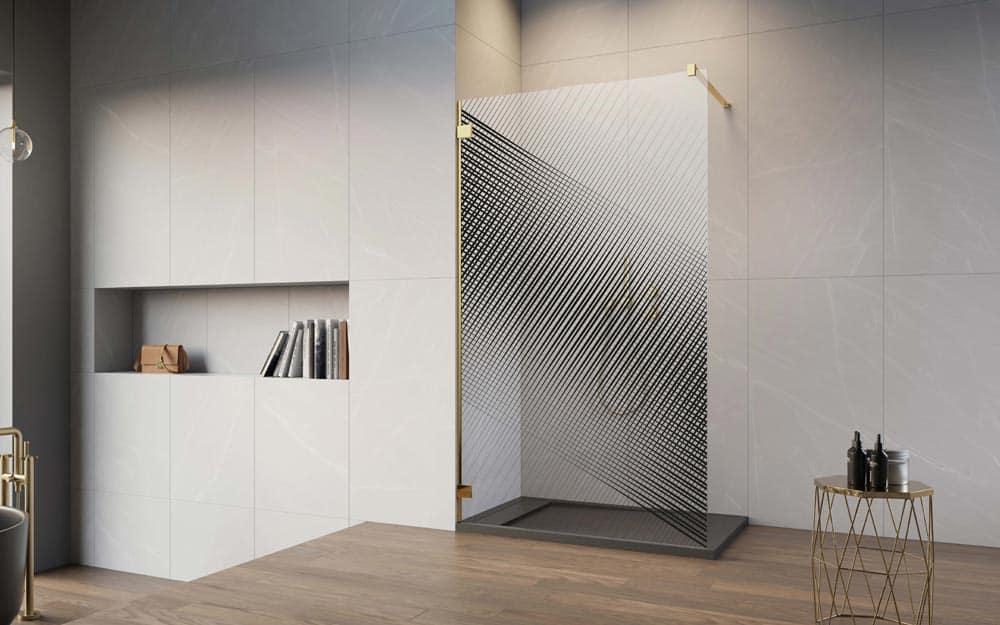Print Radaway Geometric, kolorowy nadruk na szkle kabiny prysznicowej