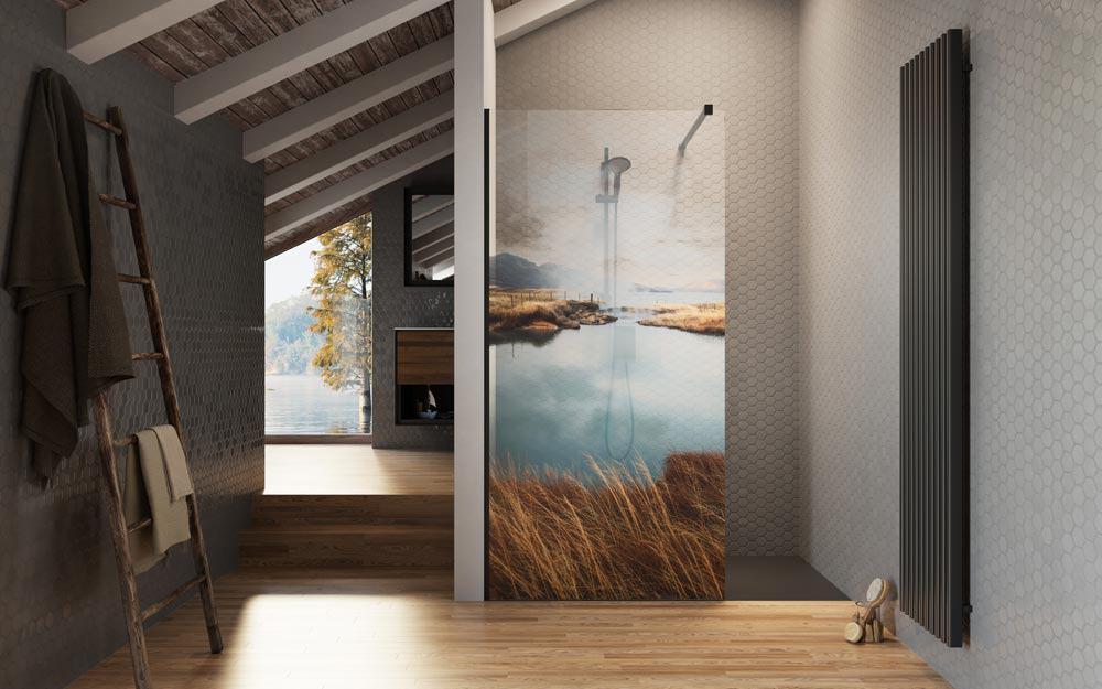 Print Radaway Lake, kolorowy nadruk na szkle kabiny prysznicowej
