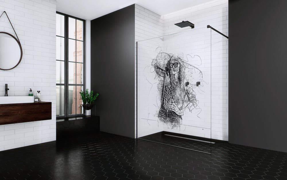Print Radaway Skate, kolorowy nadruk na szkle kabiny prysznicowej